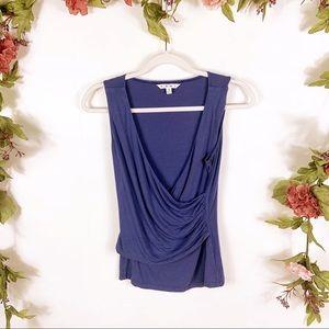 CAbi | blue sleeveless faux wrap blouse style 502